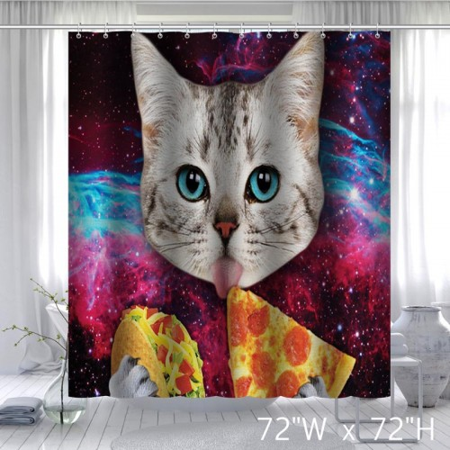 Custom Space Nebula Universe Cat Eat Pizza Shower Curtain