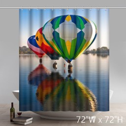 Geometric Colorful Hot-air Balloons flying in the sky shower curtain