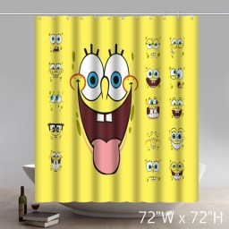 Funny Print Unique Custom Anime Spongebob Shower Curtain Waterproof  Polyester
