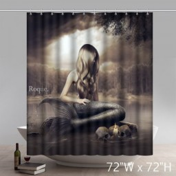 FUNNY Unique Picture Darkness Benthos Mermaid Waterproof Fabric Bath Shower Curtain