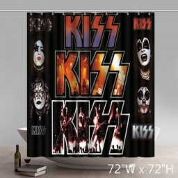 Funny Kiss Shower Curtain Waterproof Fabric Shower Curtain by Rock Band Style