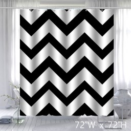 Geometric Fabric Shower Curtain Black Chevron Off White