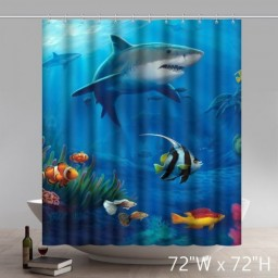 Custom Movie Character Fish Under The Water Waterproof Polyester Bathroom Shower Curtains