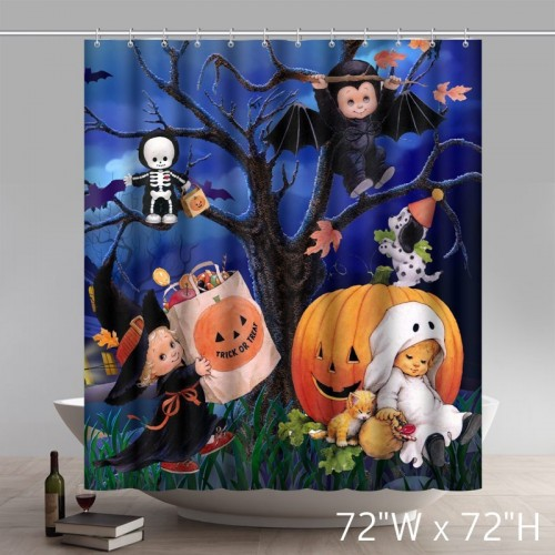Funny Print Schlafriges Gifts Halloween Porcelain Plates Bathroom Shower Curtains