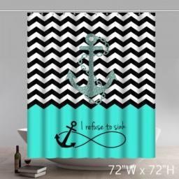 Geometric Father Daughter Anchor Dance Flyer Template Blue Bathroom Shower Curtains
