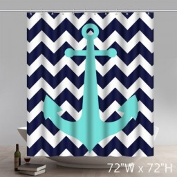 Custom Geometric Chevron AnchorAnchor Blue Bathroom Shower Curtains