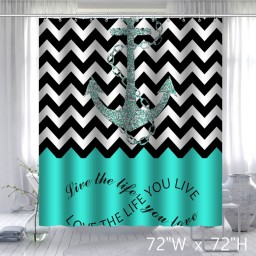 Infinity Live The Life You Love Chevron Pattern with Nautical Anchor Waterproof Bathroom Fabric Shower Curtain