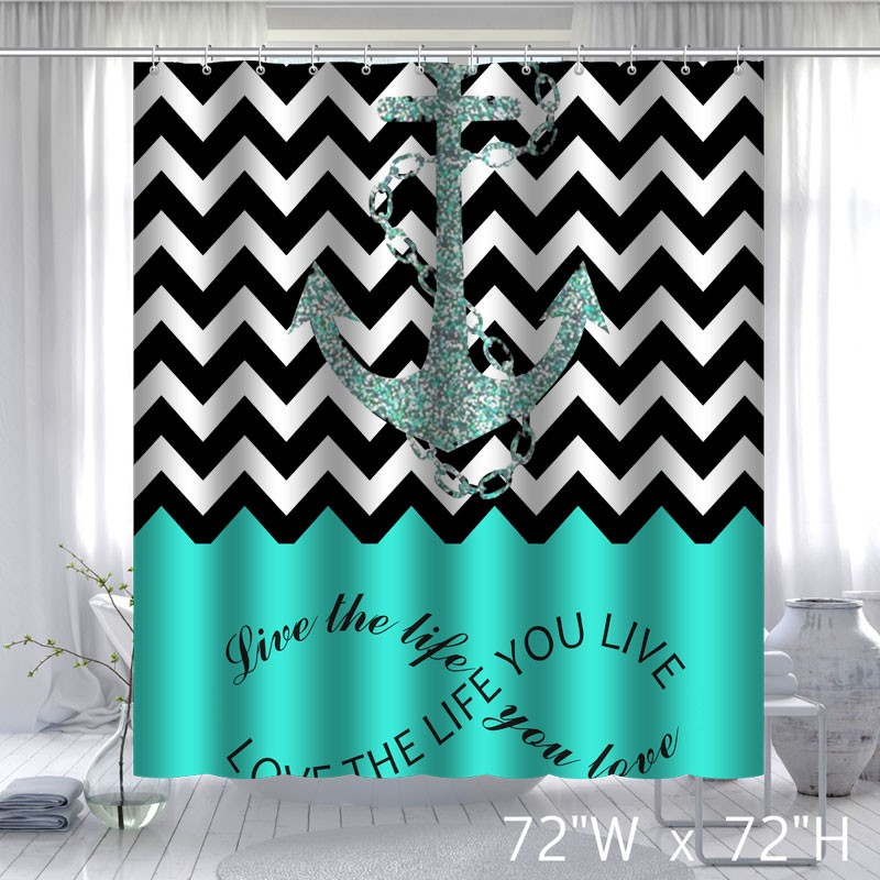 Infinity Live The Life You Love Chevron Pattern with Nautical Anchor ...
