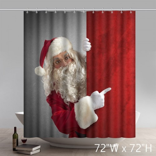 Custom Funny Print Christmas Gifts Amazed Santa Claus Indicates Bathroom Shower Curtains