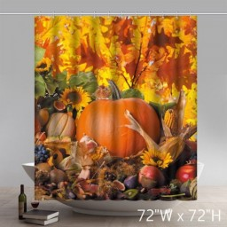 Unique Funny Print Happy Thanksgiving Dinner Bathroom Shower Curtains