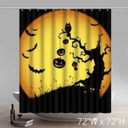 Unique Funny Print Happy Halloween Bathroom Shower Curtains